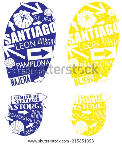 Set of two footprints along the Camino de Santiago, a popular walking trail with ancient roots across northern Spain. Illustrations contain the symbols of the pilgrimage and famous cities and sights. - stock vector
