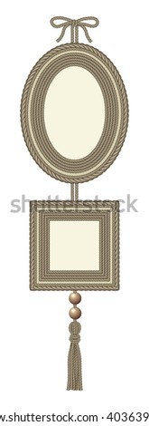 Set of two frames, oval and square, decorated with cord - stock vector