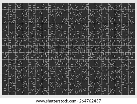 Set of two hundred sixty puzzle pieces. Vector illustration, eps 8. - stock vector