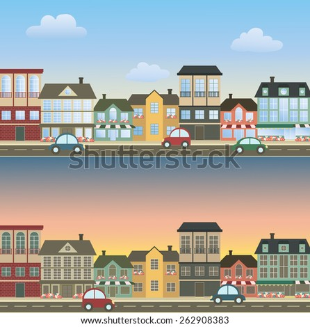Set of two illustrations streets. Vector illustrations - stock vector