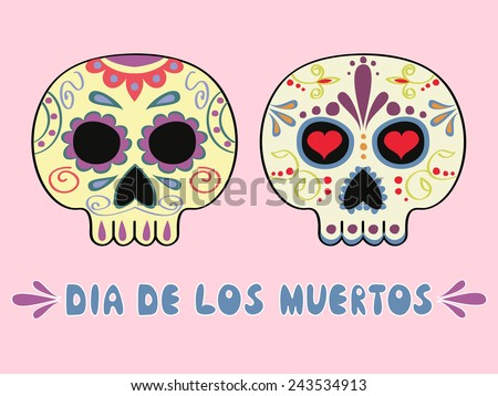 set of two Mexican decorated sculls and text Dia de los Muertos - stock vector