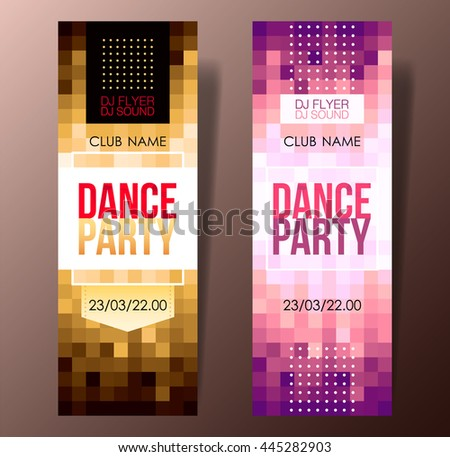 Set of two mosaic vertical music party flyers with graphic elements and place for text.  Vector illustration. - stock vector