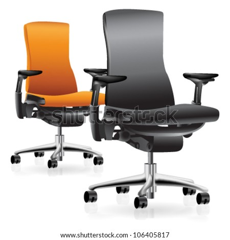 Set of two office chairs - stock vector