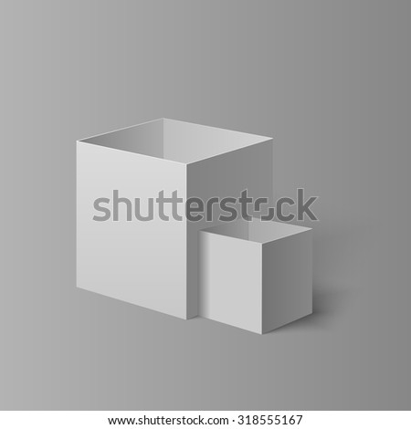 Set of two open boxes for your design isolated on the light background with gradient - stock vector