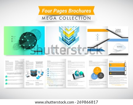 Set of two pages professional and ecological brochures or flyers presentation for your business. - stock vector