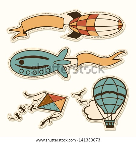 Set of two retro blimps with sign flag , kite, hot air balloon sticker - stock vector