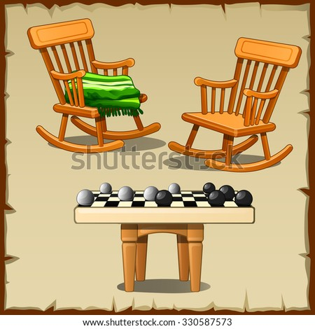 Set of two rocking chairs with the checkers on the wooden stools - stock vector