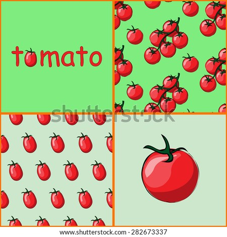 Set of two seamless patterns. Logo tomato. The pattern of branch of tomato on a green background. Pattern tomato on a gray background. Icon - a tomato . Bright juicy ripe tomato painted by hand. - stock vector
