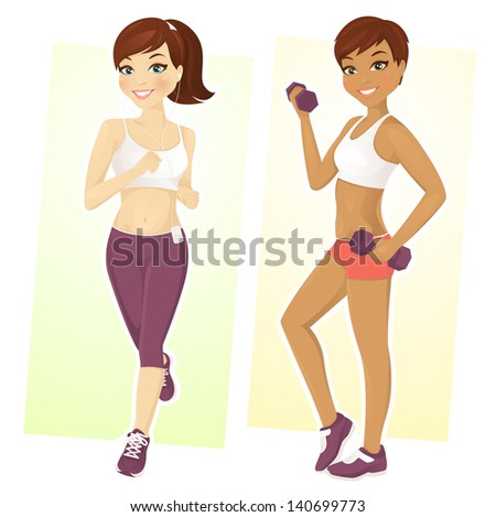Set of two sport girls working out - stock vector