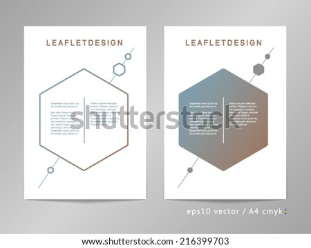 Set of two two-column vector leaflet / brochure / cover layout templates with pendulum-like hexagons and diagonal line illustration. A4, eps10, cmyk.  - stock vector