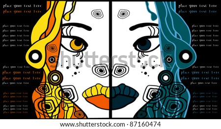 set of two vector halloween woman cartoon portraits, party background for text - stock vector