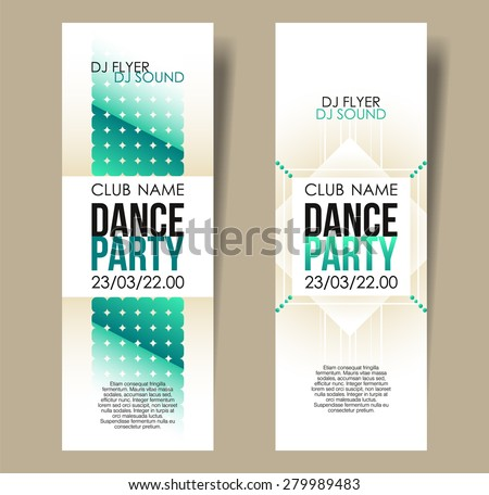 Set of two vertical light music party flyers with color graphic elements and text.  Vector illustration. - stock vector