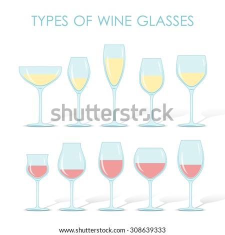 Set of types of wine and glasses red white sparkling and dessert wine - stock vector