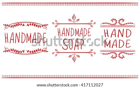 Set of typographic elements. Hand made, hand made soup. VECTOR handwritten letters. Red lines. - stock vector