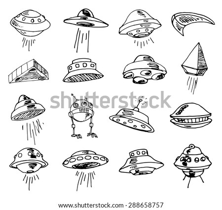 Cute Ufo Drawing Set of Ufos Drawing Sketch