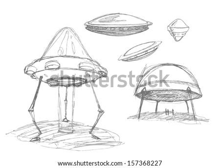 Set of Ufos. Pencil drawing sketch. Vector illustration.  - stock vector
