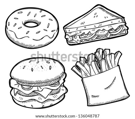 set of unhealthy food - stock vector