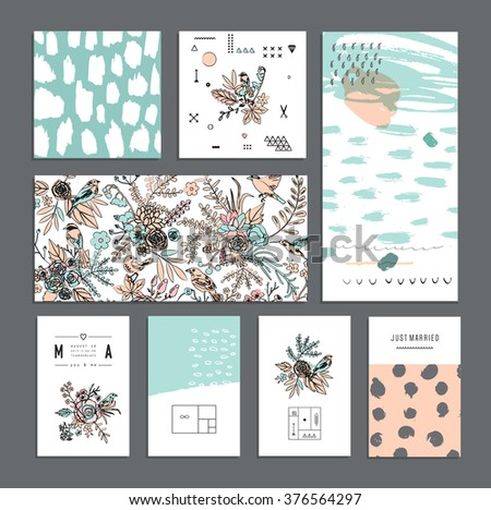 Set of universal cards. Hand Drawn textures. Wedding, anniversary, birthday, Valentine's day, party. Design for banner, poster, card, invitation, placard, brochure, flyer. Vector. Isolated. - stock vector