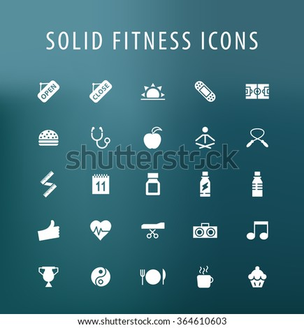 Set of 25 Universal Fitness Icons. Isolated Elements. - stock vector