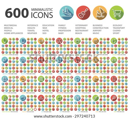 Set of 600 Universal Flat Minimalistic Elegant Standard Thin Line Icons on Circular Colored Buttons on White Background. - stock vector