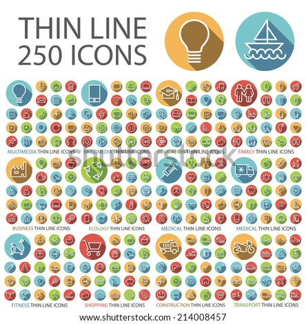 Set of 250 Universal Flat Minimalistic Thin Line Icons on Circular Colored Buttons ( Business , Multimedia , Education , Ecology , Medical , Fitness , Shopping , Construction , Transport ). - stock vector