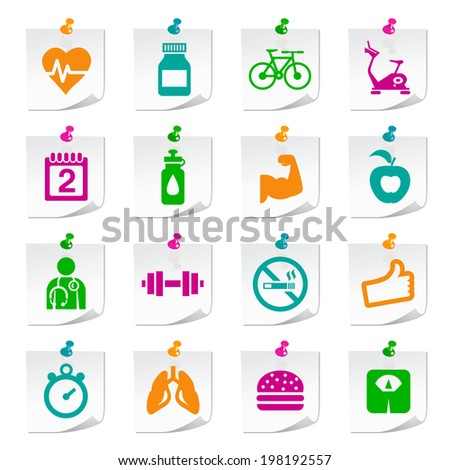 Set of Universal Flat Simple Fitness Icons on Square Colored Notepaper Buttons 1. - stock vector
