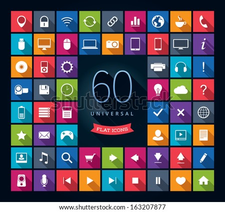Set of 60 universal flat vector icons with long shadows - stock vector