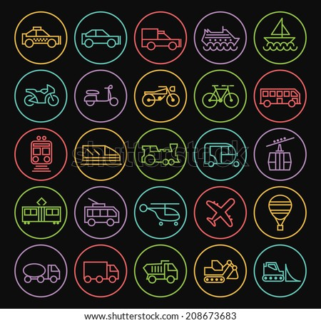 Set of Universal Minimal Simple Transport Thin Neon Line Icons on Minimal Circular Button on Black Background. - stock vector