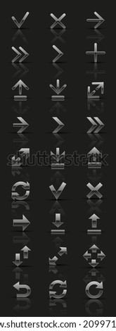 Set of universal silver icons. Vector illustration.  - stock vector
