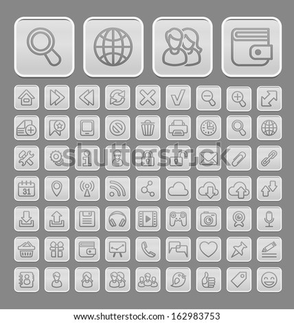 Set of universal soft grey icons, suitable for web browsing and social media communication - stock vector