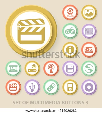 Set of Universal Standard Multimedia Icons on Elegant Modern Three-dimensional Colored Circular Buttons on Colored Background 3. - stock vector