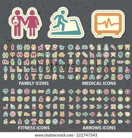 Set of 180 Universal Standard New Color Family, Medical, Fitness and Arrows Icons Paper Cut Style on Black Background. - stock vector