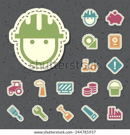 Set of Universal Standard New Flat Isolated Color Construction Icons Paper Cut Style on Black Background 3. - stock vector