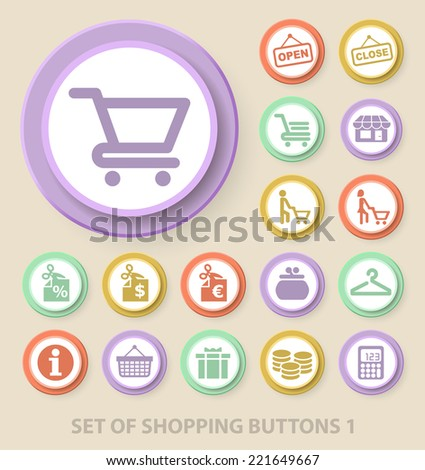 Set of Universal Standard Shopping Icons on Elegant Modern Three-dimensional Colored Circular Buttons on Colored Background 1. - stock vector