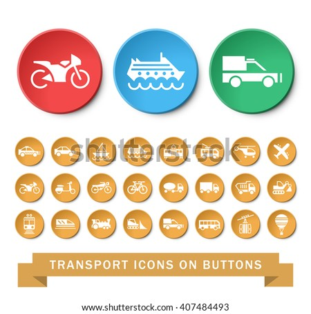 Set of 24 Universal Transport Icons. Isolated Elements. - stock vector