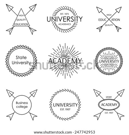 Set of university school academy outline badge label emblem - stock vector