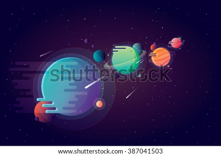 Set of unusual colorful vivid planets on universe background in modern cartoon style  - stock vector
