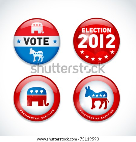 Set of US presidential election buttons in 2012 - stock vector