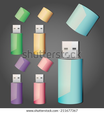Set of usb memory sticks - stock vector