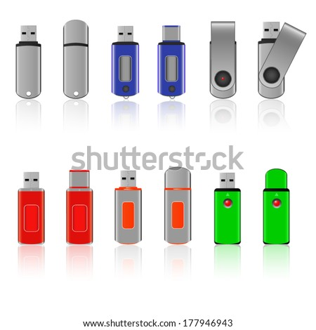 Set of usb pen drive with reflection - stock vector