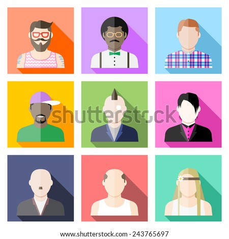Set of user avatar icons in flat style with hipster, nerd, punk, rapper, emo, skinhead, loser, hippie, folk. Faces collage. People faces. - stock vector
