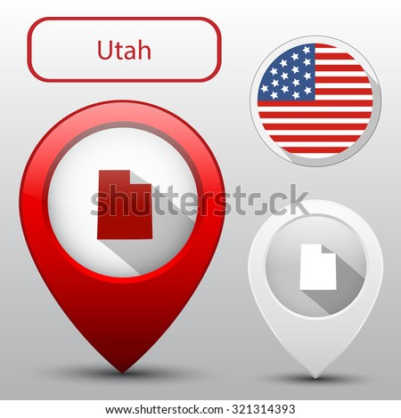 Set of Utah state with flag america and map pointer - stock vector