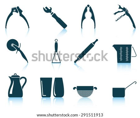 Set of utensil icons.  - stock vector