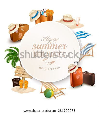 Set of vacation related icons. Vector. - stock vector
