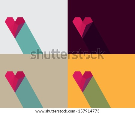set of Valentine card with effect of paper heart, vector eps10 illustration on colorful background. - stock vector
