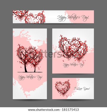 Set of valentine cards design with sakura trees - stock vector