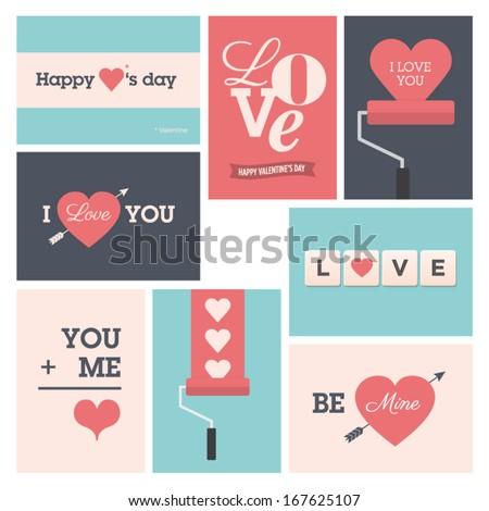 Set of valentine cards, vector design editable. - stock vector
