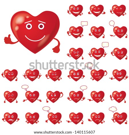 Set of Valentine hearts smileys, love signs, symbolizing various emotions. Eps10, contains transparencies. Vector - stock vector