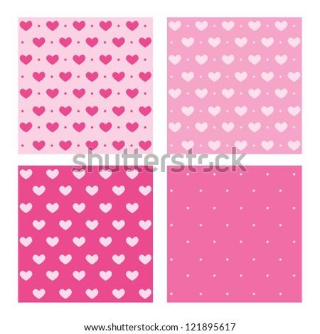 Set of Valentine pink patterns - stock vector