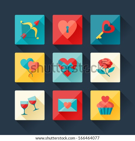 Set of Valentine's and Wedding icons in flat design style. - stock vector
